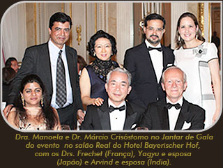 Foto do dr. Márcio e dra. Manoela no jantar de Gala do evento no salão Real do Hotel Bayerischer Hof